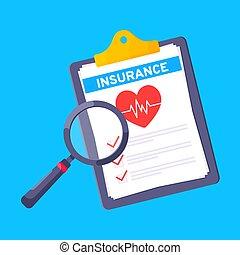 stylo, réclamation, formulaire, presse-papiers, feuilles, papier, monde médical, bleu, assurance, il, arrière-plan., isolé