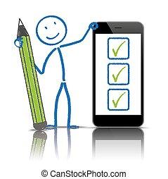 stylo, stickman, liste contrôle, smartphone