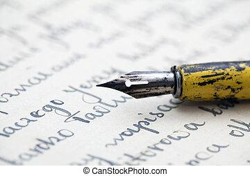 stylo, vieille lettre