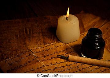 stylo, vieux, bougie, lettre