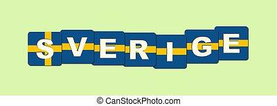 suédois, fait, mot, langue, drapeau national, suède, couleurs, cubes