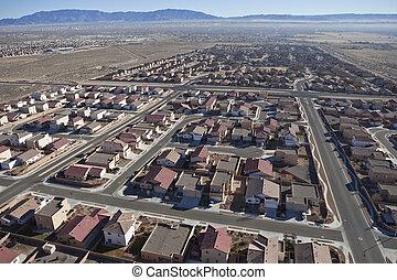 subdivision, suburbain, aérien, désert