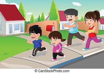 suburbain, extérieur, voisinage, courant, famille