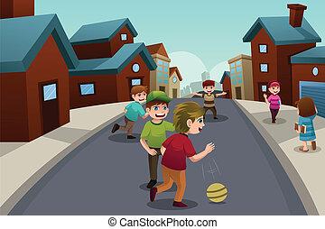 suburbain, gosses, rue voisinage, jouer