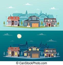 suburbain, maisons, bannières, horizontal