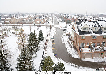 suburbain, paysage hiver