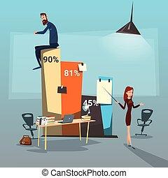 succès financier, professionnels, graphique, businesspeople, présentation, groupe
