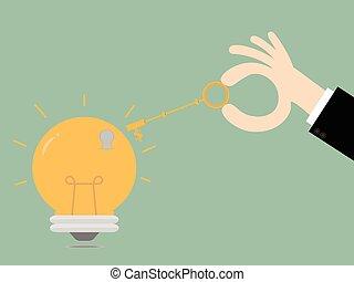 success., ouvrir, business, clã©, bulb., idées, clés, illustration., concept