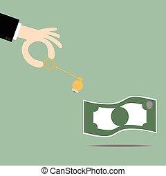 success., ouvrir, clã©, business, argent., idées, clés, ampoule, illustration., concept