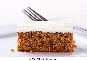 succulent, gâteau, sallow, profondeur, carotte, isolé, plaque, white., champ, blanc