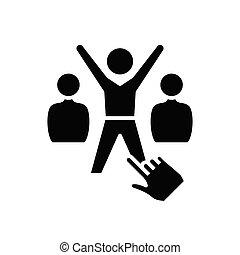 sucessful, illustration, plat, employé, icône, noir, vecteur, symbole, glyph, signe., concept