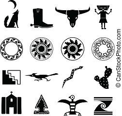 sud-ouest, désert, icônes