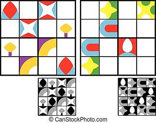 sudoku, puzzle, enfants, coloré