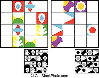 sudoku, puzzle, gosses, coloré