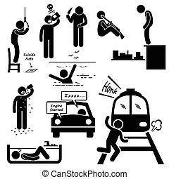 suicide, commettre, suicidaire, méthodes