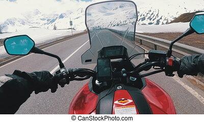 suisse, alpes, route, promenades, motocycliste, neigeux, beau, paysage montagne