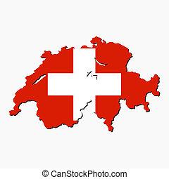 suisse, carte, drapeau
