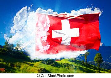 suisse, collage, drapeau