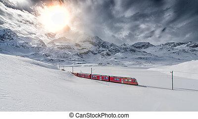 suisse, exprès, bernina, élevé, train, traversé, par, neige, montagne