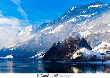 suisse, hiver, alps.