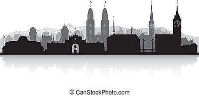 suisse, horizon ville, silhouette, zurich
