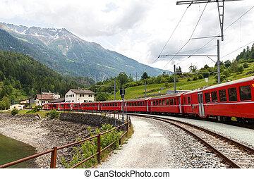 suisse, montagne, train, bernina, exprès