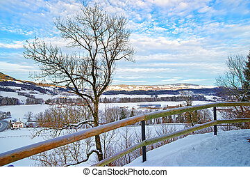 suisse, montagnes, paysage hiver, panorama