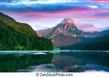 suisse, obersee, fantastique, été, surprenant, lac, matin