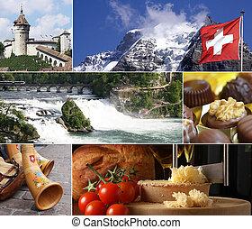 suisse, repère, collage