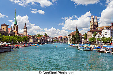 suisse, rivière, zurich, limmat