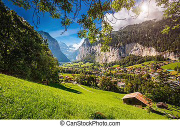 suisse, vallée, grand, mondiale, europe., vue, village., alpes, emplacement, beauté, alpin, lauterbrunnen, endroit