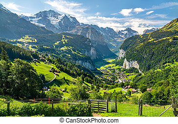 suisse, vallée, vue, lauterbrunnen, alpes