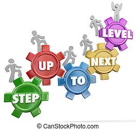 suivant, marchers, levée, haut, reussite, niveau, engrenage, accomplissement, étape