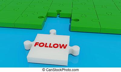 suivre, concept, puzzle