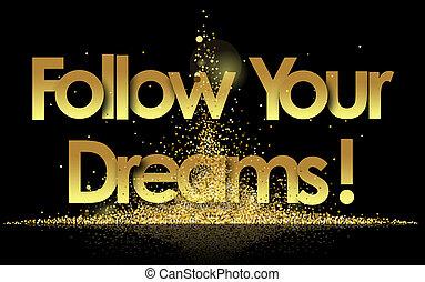suivre, fond, doré, étoiles, ton, rêves