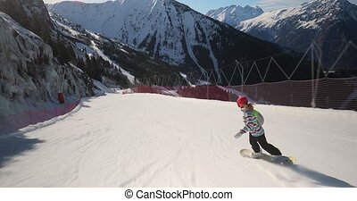 suivre, snowboarder, coup