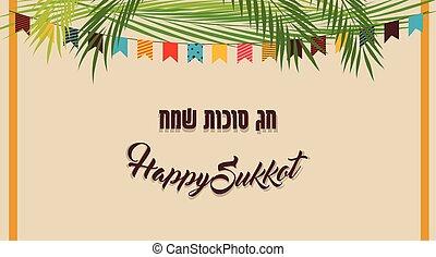 sukkot, juif, illustration, vecteur, sukkah, vacances