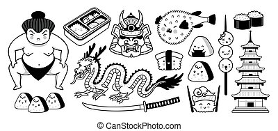 sumo, dragon, lutteur, samouraï, fish, fugu, japonaise, pagode, sushi., masque