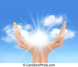 sun., mains, vector., clair