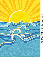 sun., mer, vagues, vecteur, jaune, illustraction