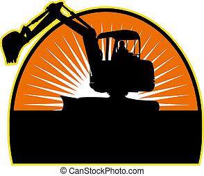 sunburst, excavateur, fond, mécanique
