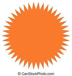 sunburst, forme., étiquette, plat, icône, coût, starburst, flash