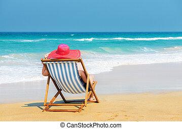 sunhat, plage, femme, rouges, heureux