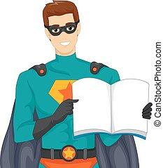 super, livre, héros, art conter, homme