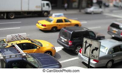 super, scène, (4096x2304)., trafic manhattan, élevé, nyc, 4k, résolution, gens, qualité, rue, amérique