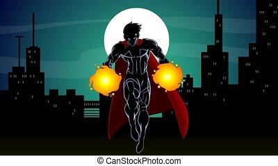 superhero, comiques, voler, caractère