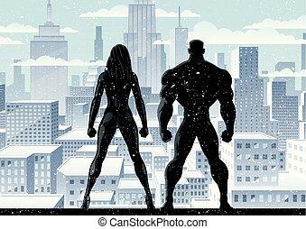superhero, couple, 2, montre, hiver