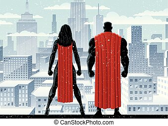 superhero, couple, montre, hiver