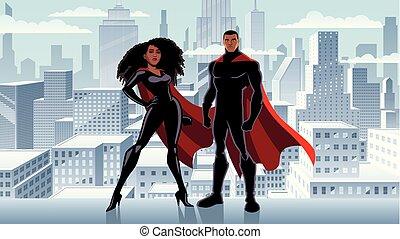 superhero, couple, noir, hiver, ville