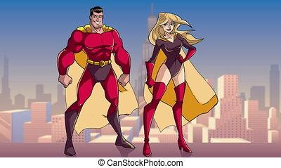 superhero, debout, ville, couple, grand